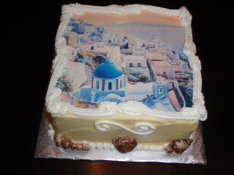 Santorini Seaside on Cake Central