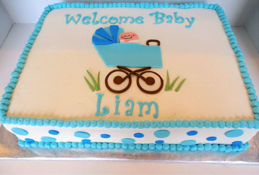 Sweet Baby Boy Buggy Cake  on Cake Central