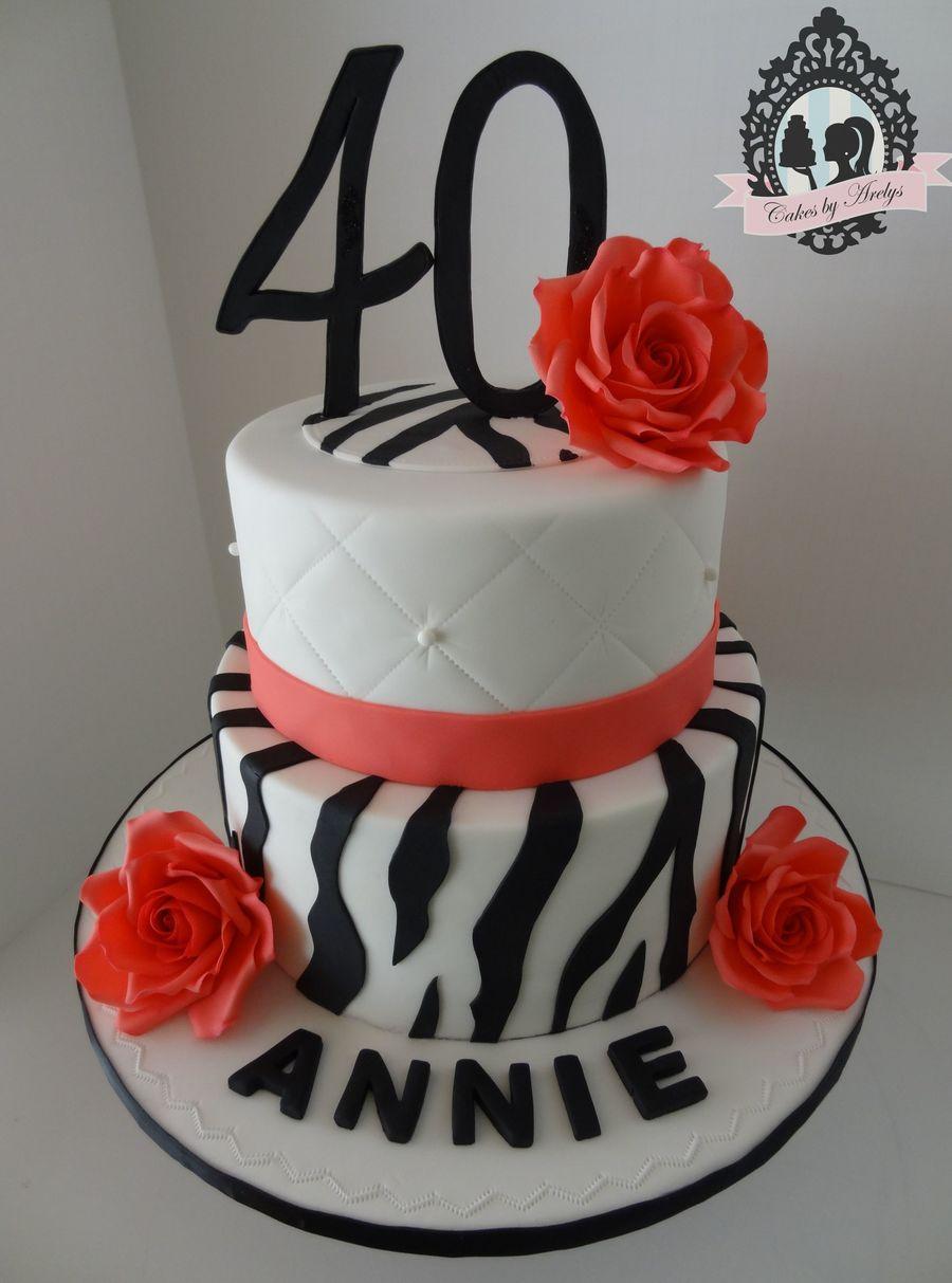 Zebra Print 40th Birthday Cake Cakecentral