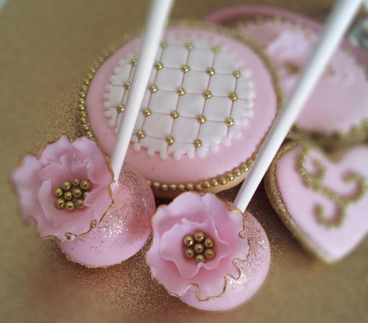 pink and gold wedding cake pops wedding cake pops