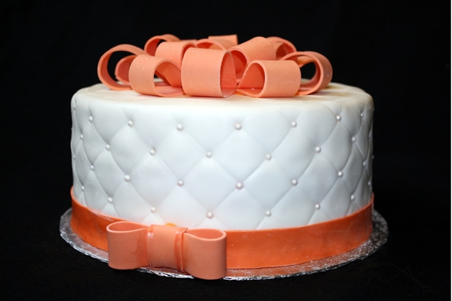 White And Coral Hat Box Cake. on Cake Central