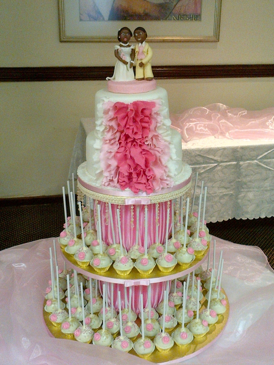 Ruffle Wedding Cake And Pop Tower - CakeCentral.com
