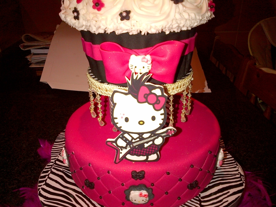 Hot Pink And Black Hello Kitty Cake Cakecentral Com