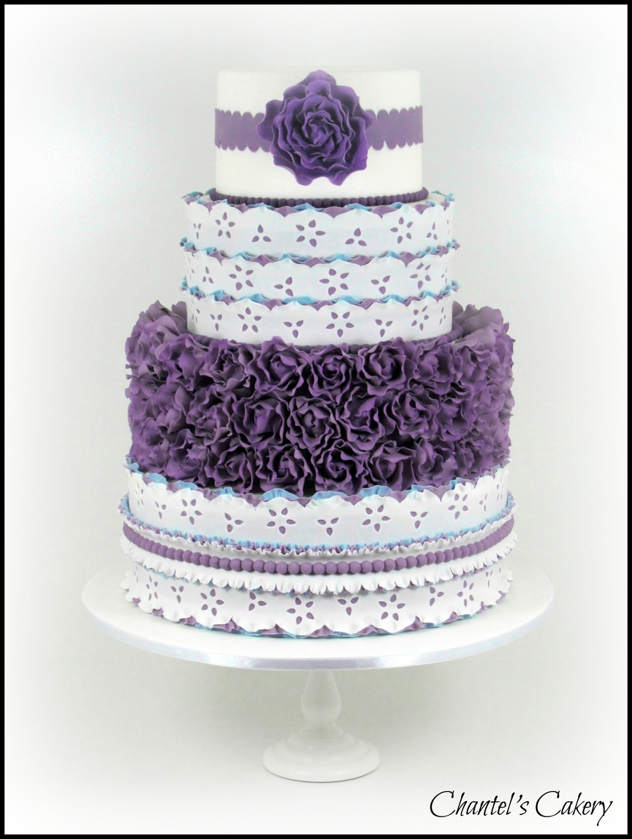 Purple And Blue Wedding Cake - CakeCentral.com