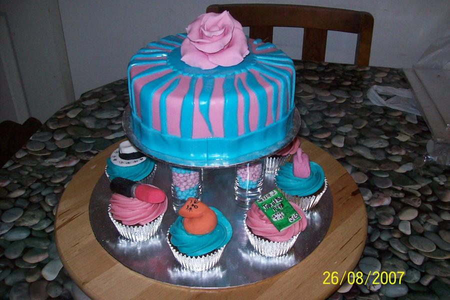 Pink And Blue Fashion, Make Up And Cat Cake  on Cake Central
