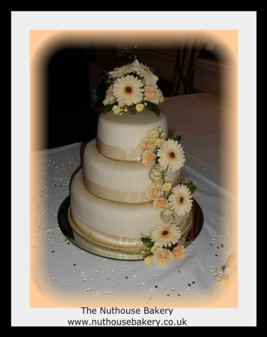Ivory And Gold Wedding Cake on Cake Central