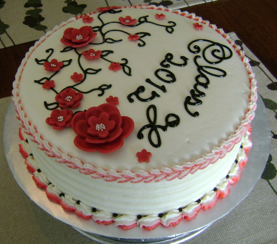 Graduation Cake For Teenage Girl Class Of 2012 Vanilla ABC 2tone Shell Cross Border Combed Candy Clay Flowers Black Tint Piping Gel