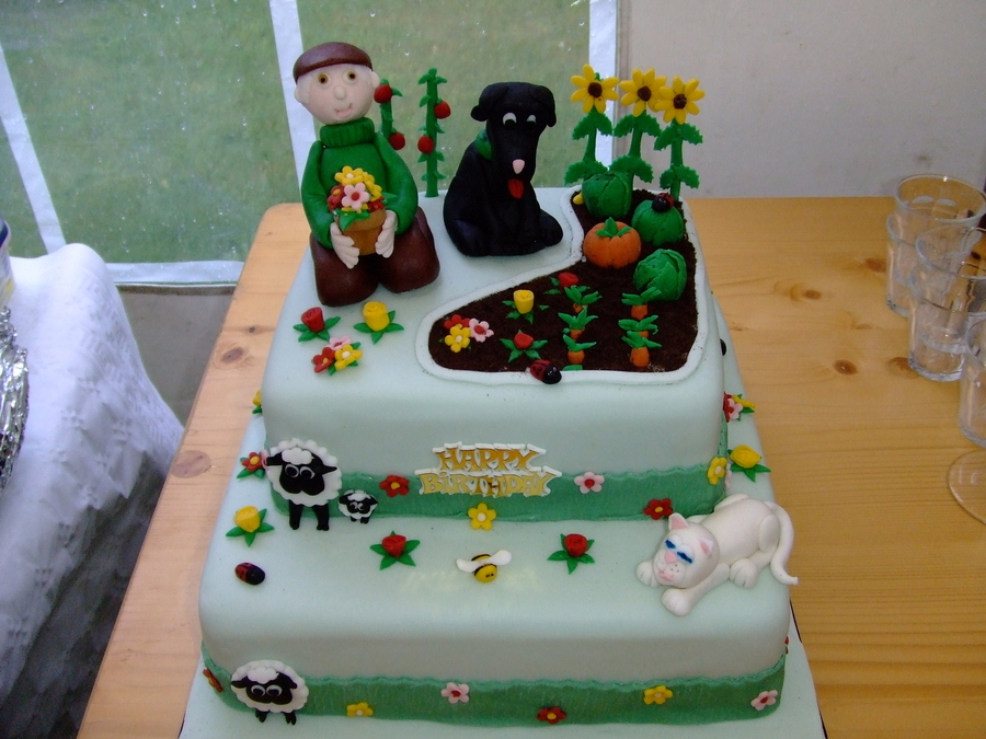 Garden Birthday Cake Bottom Tier Was Fruit And Top Tier Was