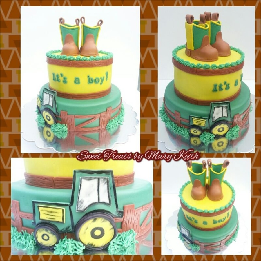 Cowgirl Baby Shower Cakes: Cowboy Boot Topper Baby Boy Shower Cake