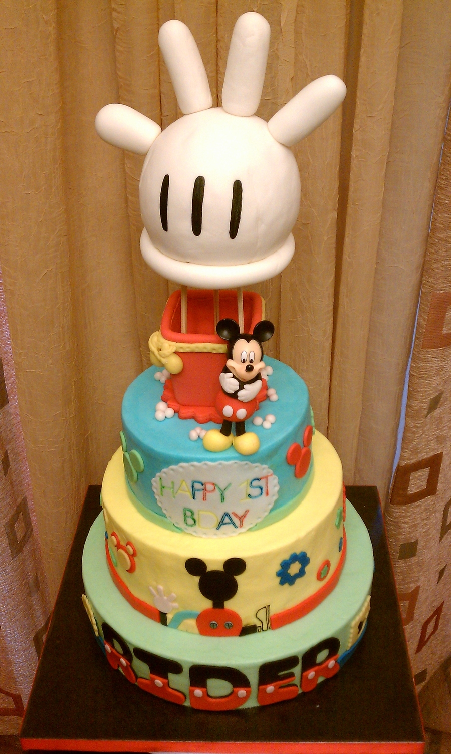 3tier Buttercream Mickey Mouse 1st Bday Themed Cake Wih