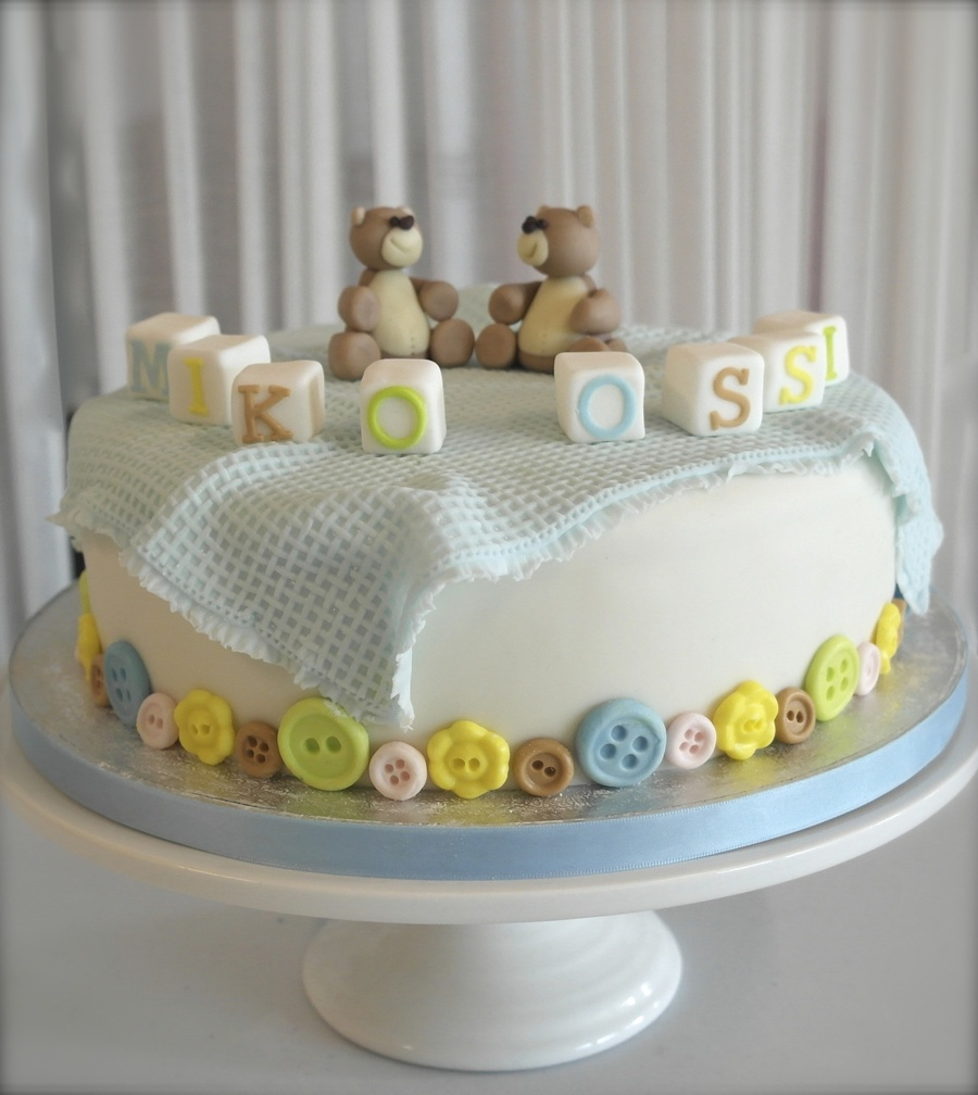 Twin Boys Christening Cake on Cake Central