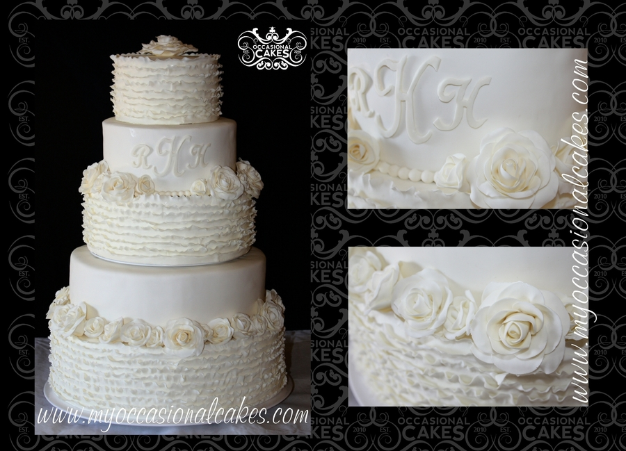 Ruffles & Roses Wedding Cake on Cake Central