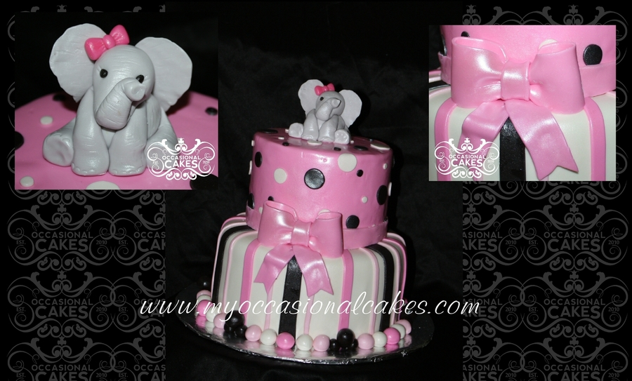 Pink & Black W/elephant Topper on Cake Central