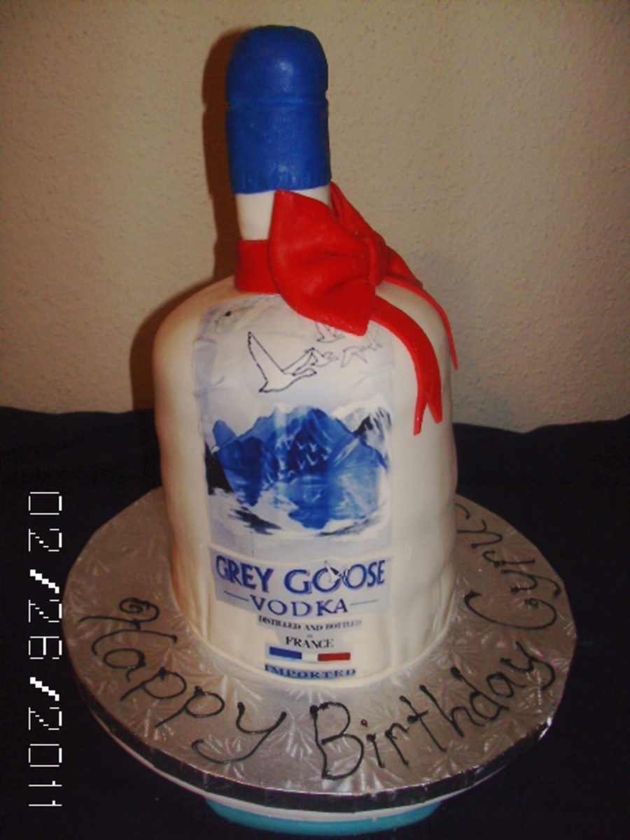 Gray Goose Bottle Cake With Bow on Cake Central