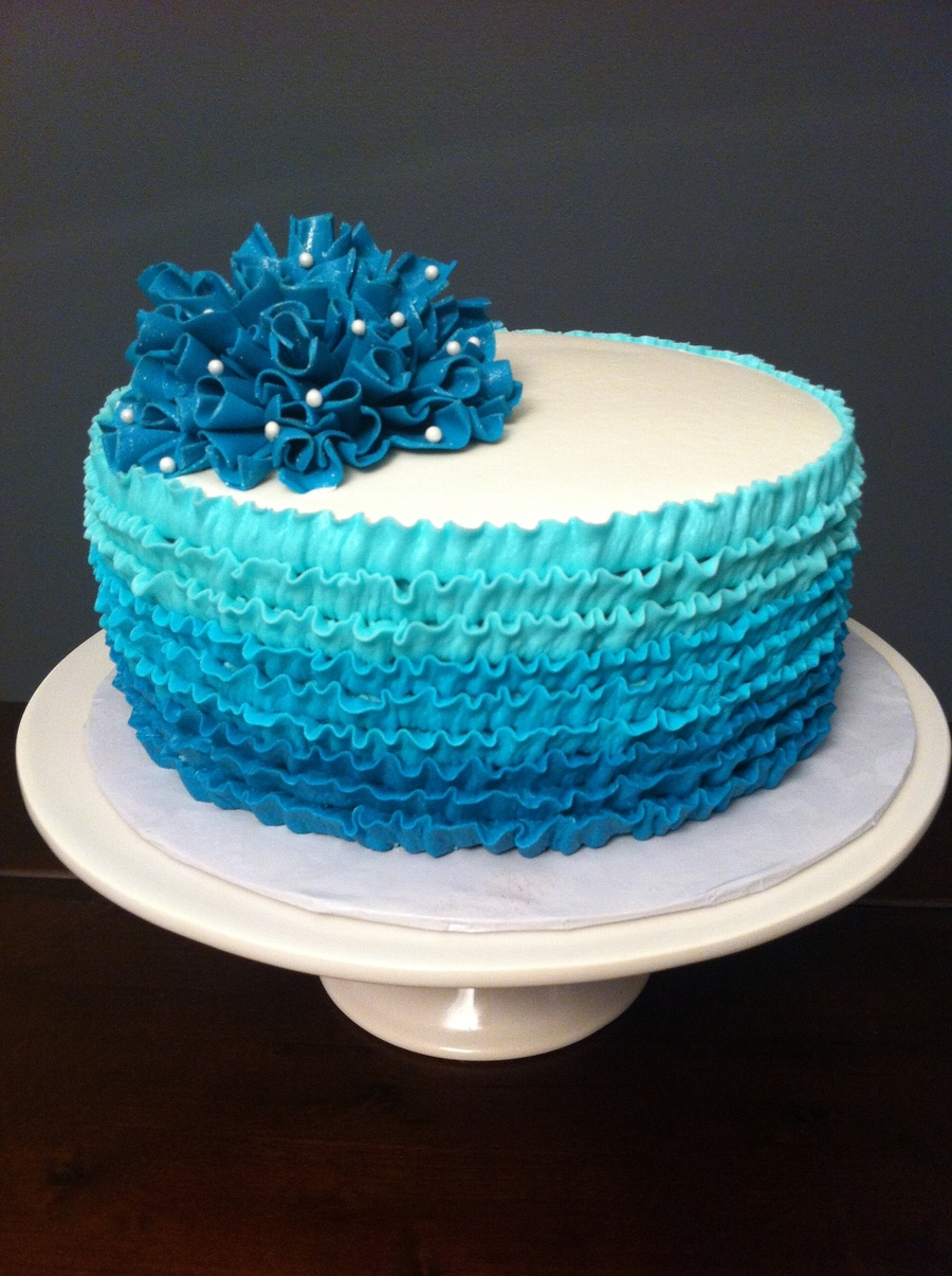Teal Ombre Buttercream Ruffle Cake Cakecentral Com