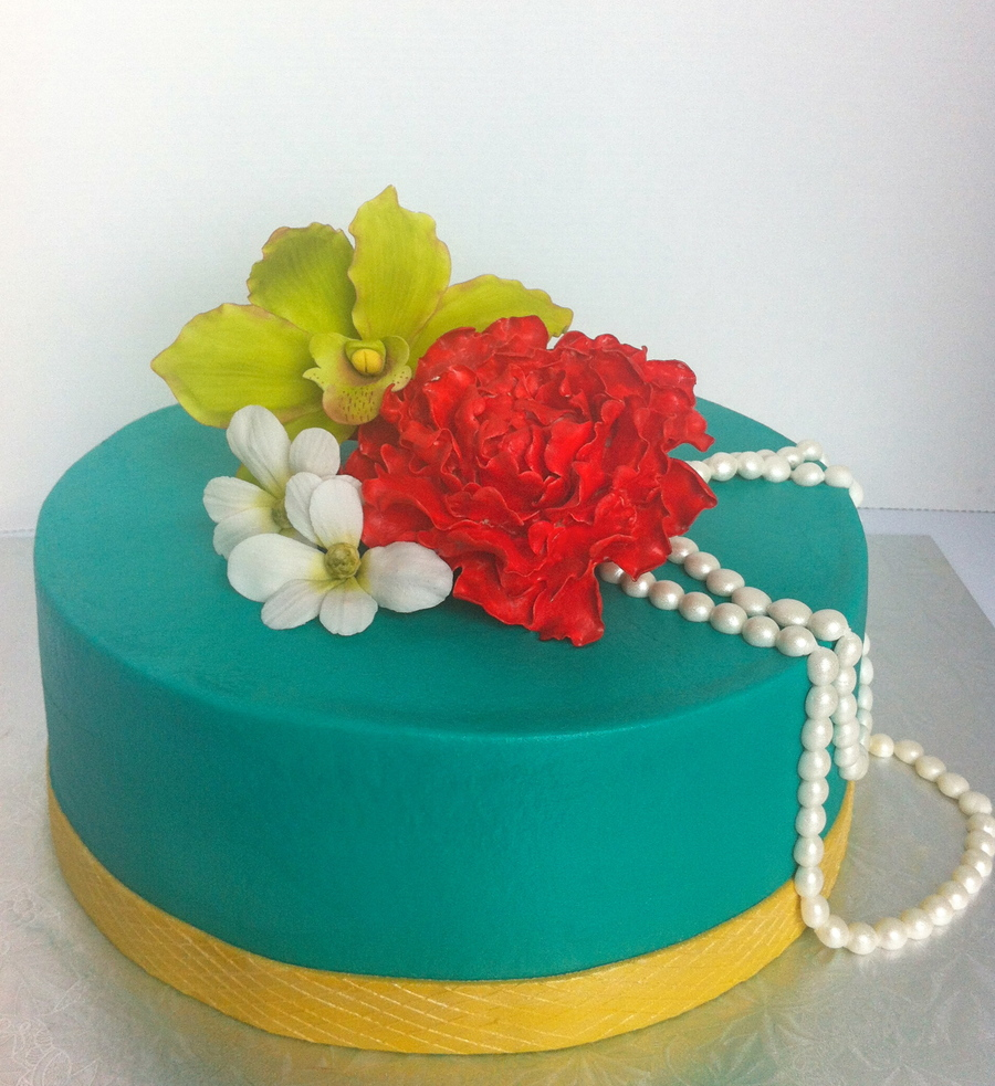 Peony Orchid And Dogwood Flower Cake Iced In Teal Buttercream on Cake Central