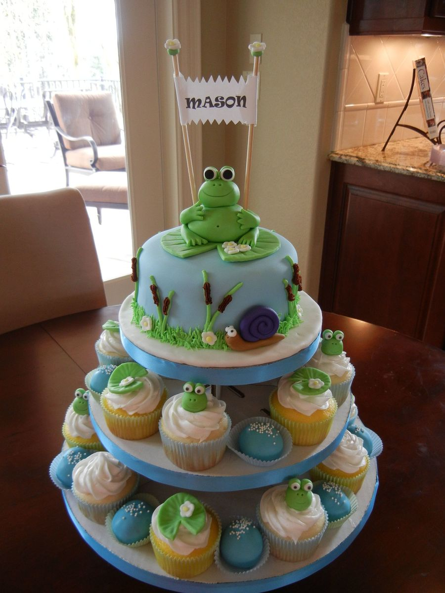Frog Themed Cake & Cupcake Tower on Cake Central