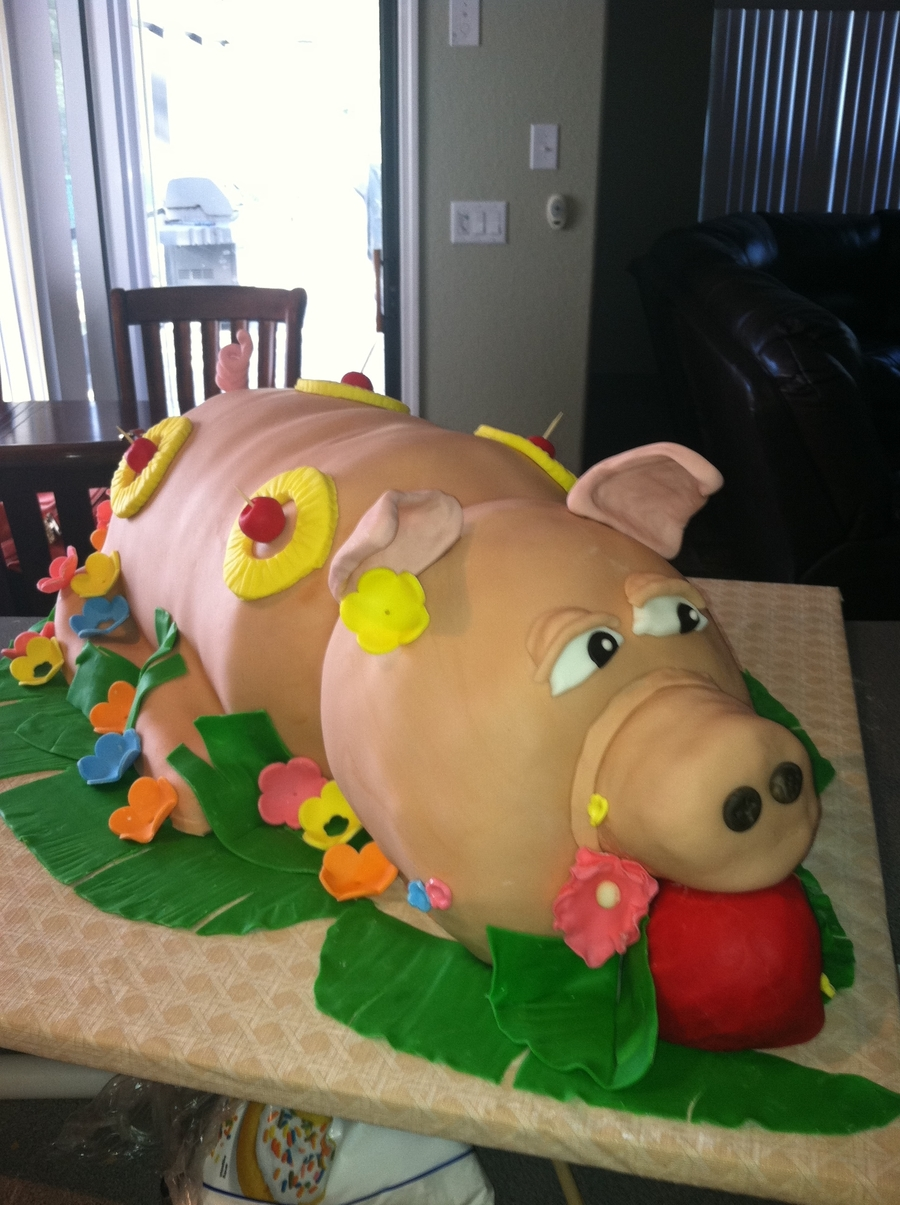 "Roast ""piggy"" For A Luau  on Cake Central"