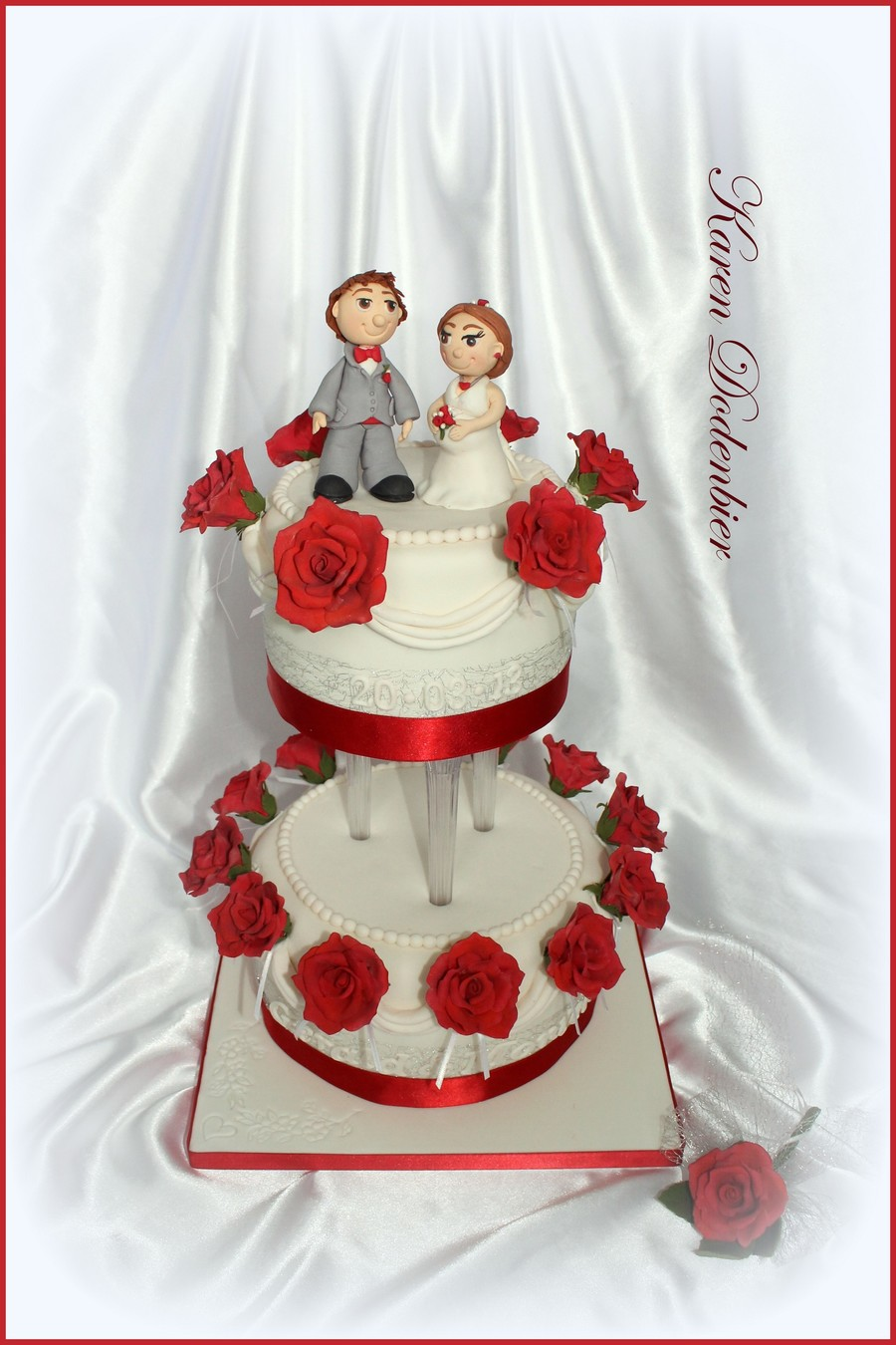 Red And White Small Wedding Cake! on Cake Central