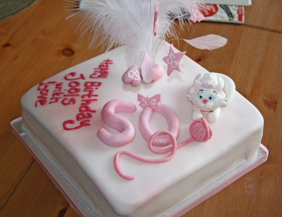 Outstanding Playful Cat 50Th Birthday Cake Cakecentral Com Personalised Birthday Cards Veneteletsinfo