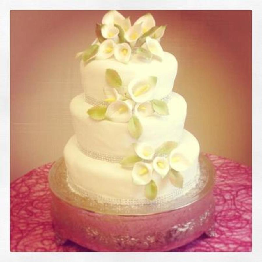 Wedding Cake With Cala Lillies Three Round Cakes 6 8 10 on Cake Central