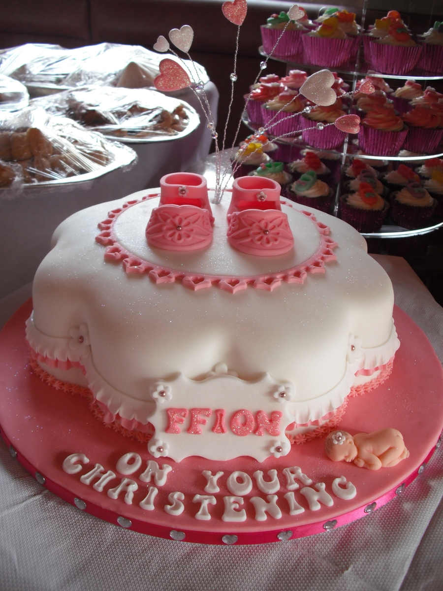 Baby Shoe Christening Cake on Cake Central