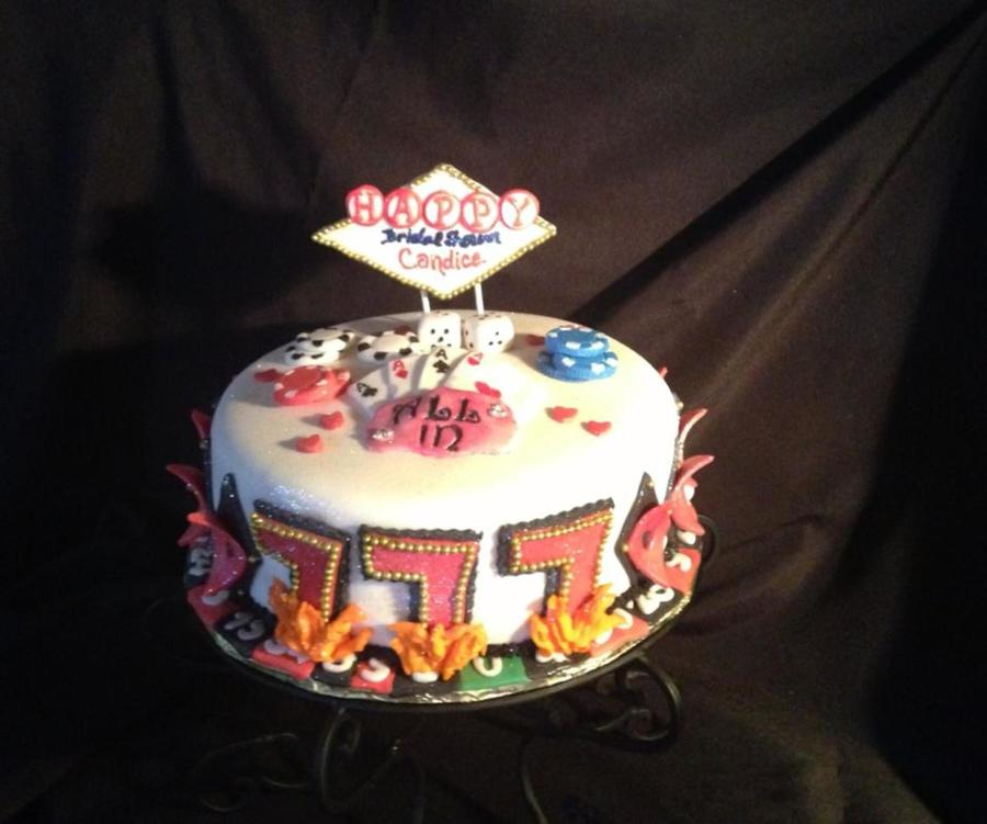 this was a cake made for a las vegas themed bridal shower