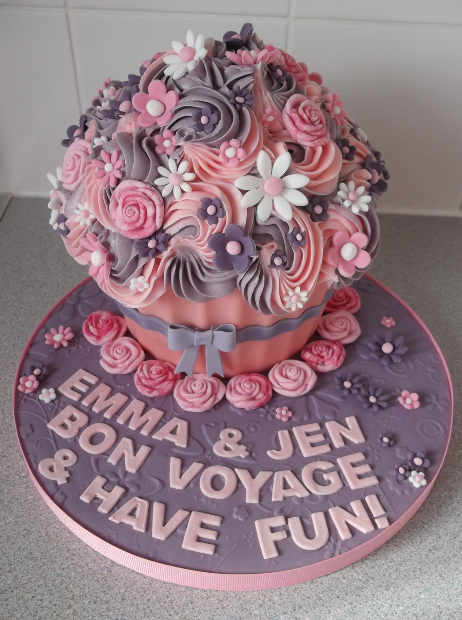 Giant Pink And Purple Cupcake - CakeCentral.com