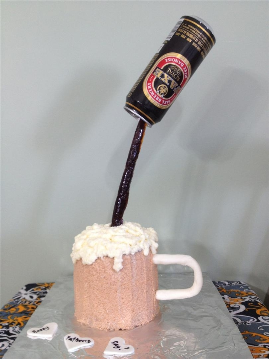 Floating Beer Can Cake on Cake Central