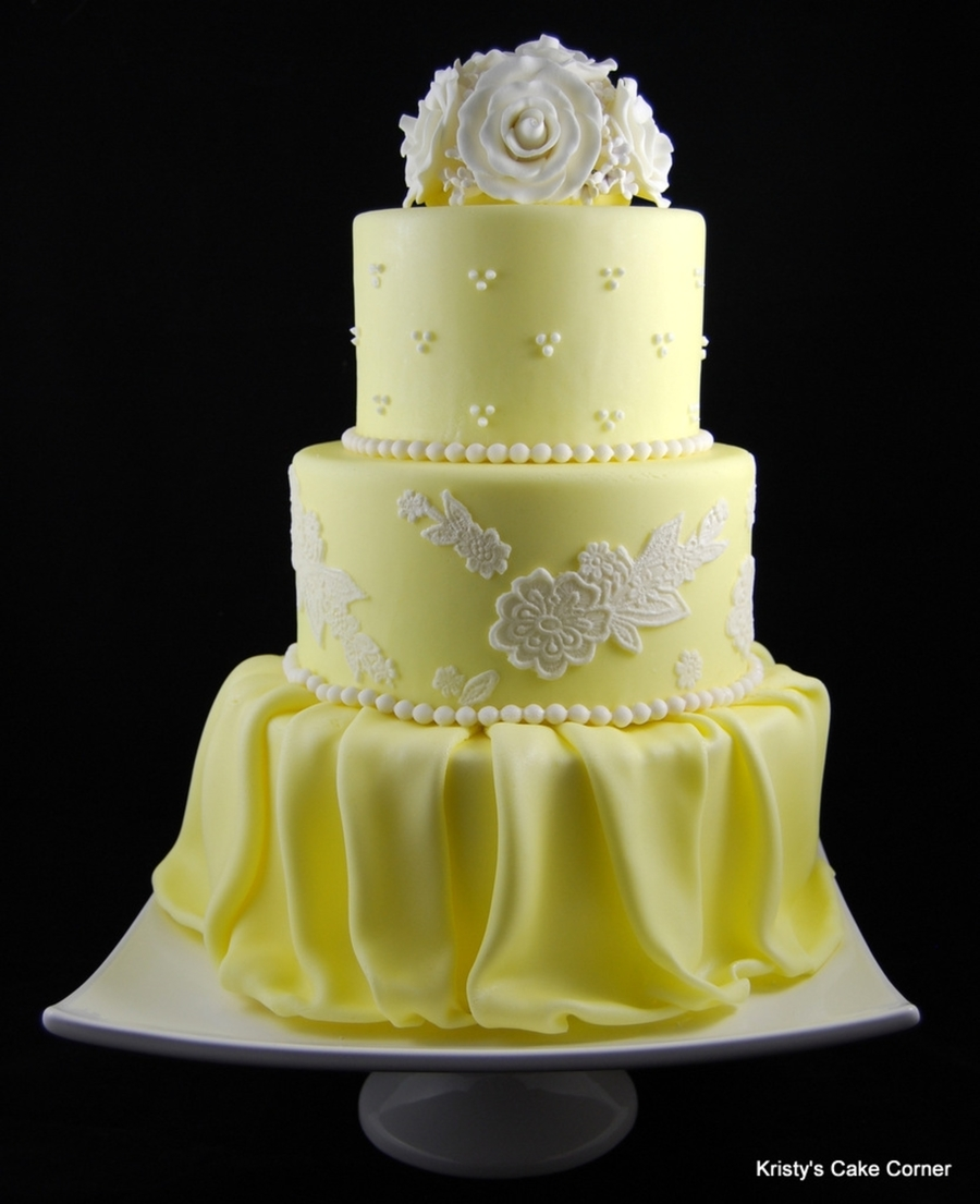 Yellow & White Wedding Cake - CakeCentral.com