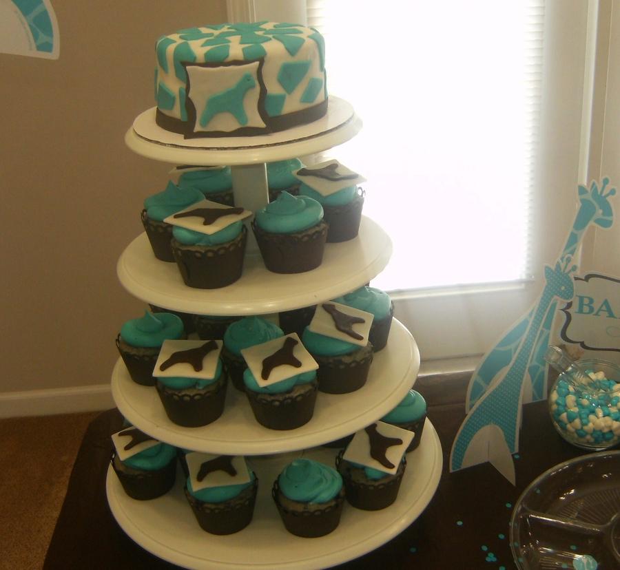 Wild Safari Blue Baby Shower Cupcakes