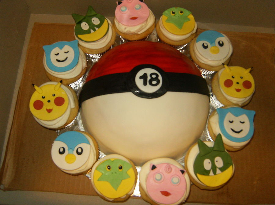 Pokemon Cake With Cupcakes All Gumpastefondant Toppers Made Freehand Without Cutters on Cake Central