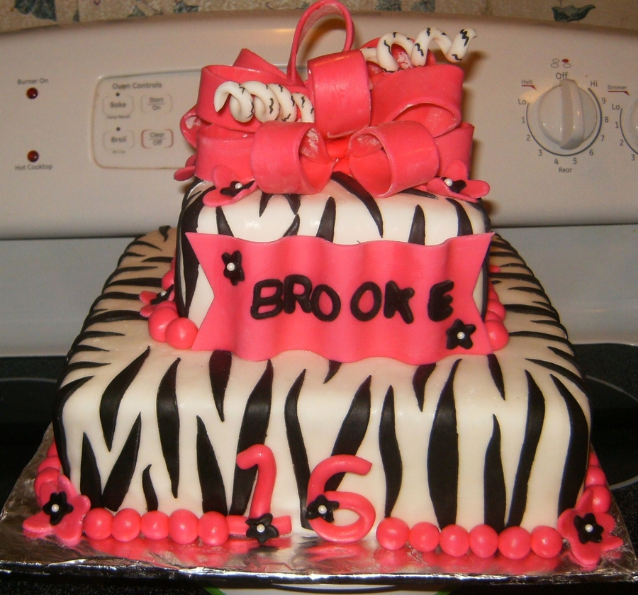 Zebra And Hot Pink Sweet 16 Cake on Cake Central