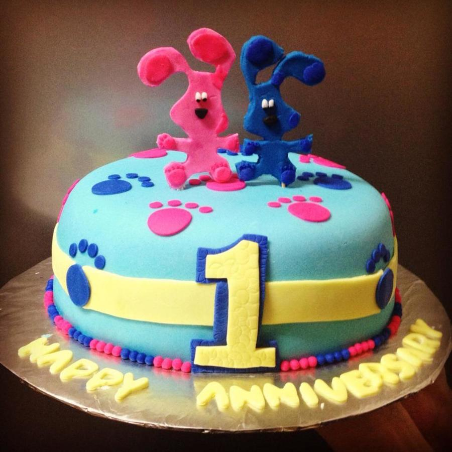 Funny Blue And Magenta Anniversary Cake on Cake Central