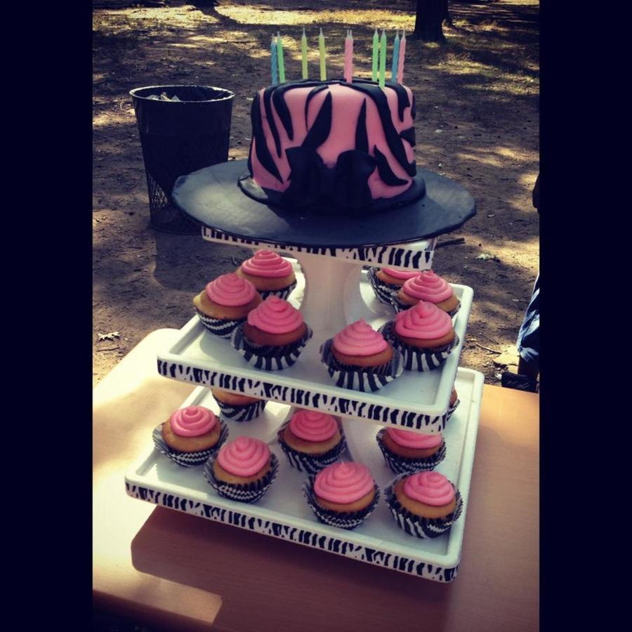 Pink And Black Zebra Cake And Cupcakes on Cake Central