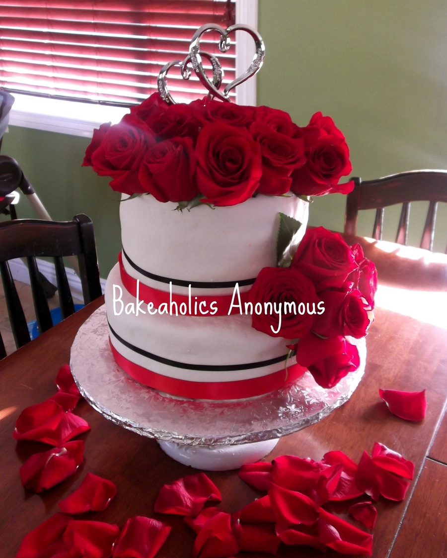 Red Velvet Wedding Cake.Red Velvet Wedding Cake With Fresh Roses Cakecentral Com