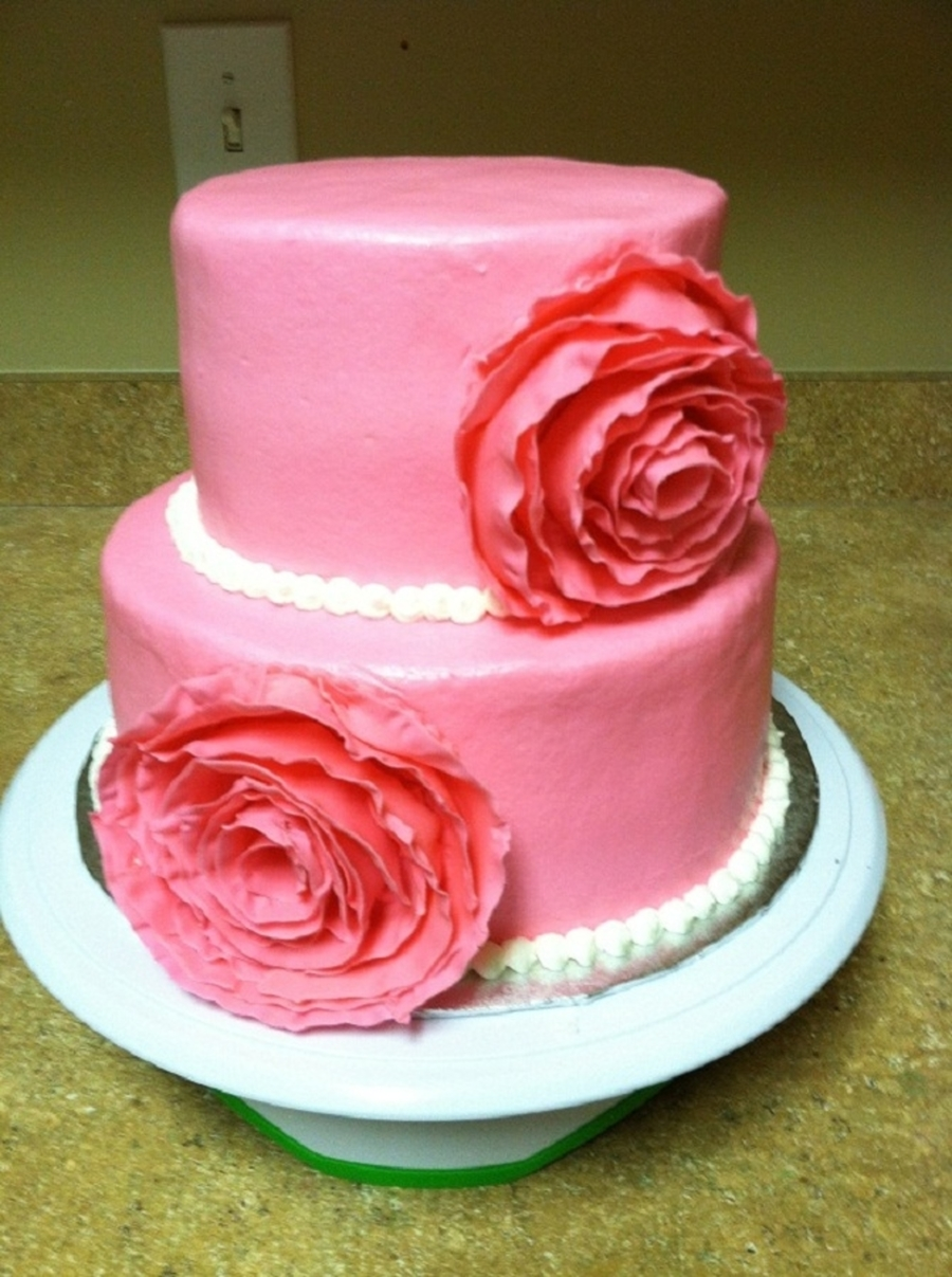 Pink Ribbon Flower Bridal Shower Cake on Cake Central