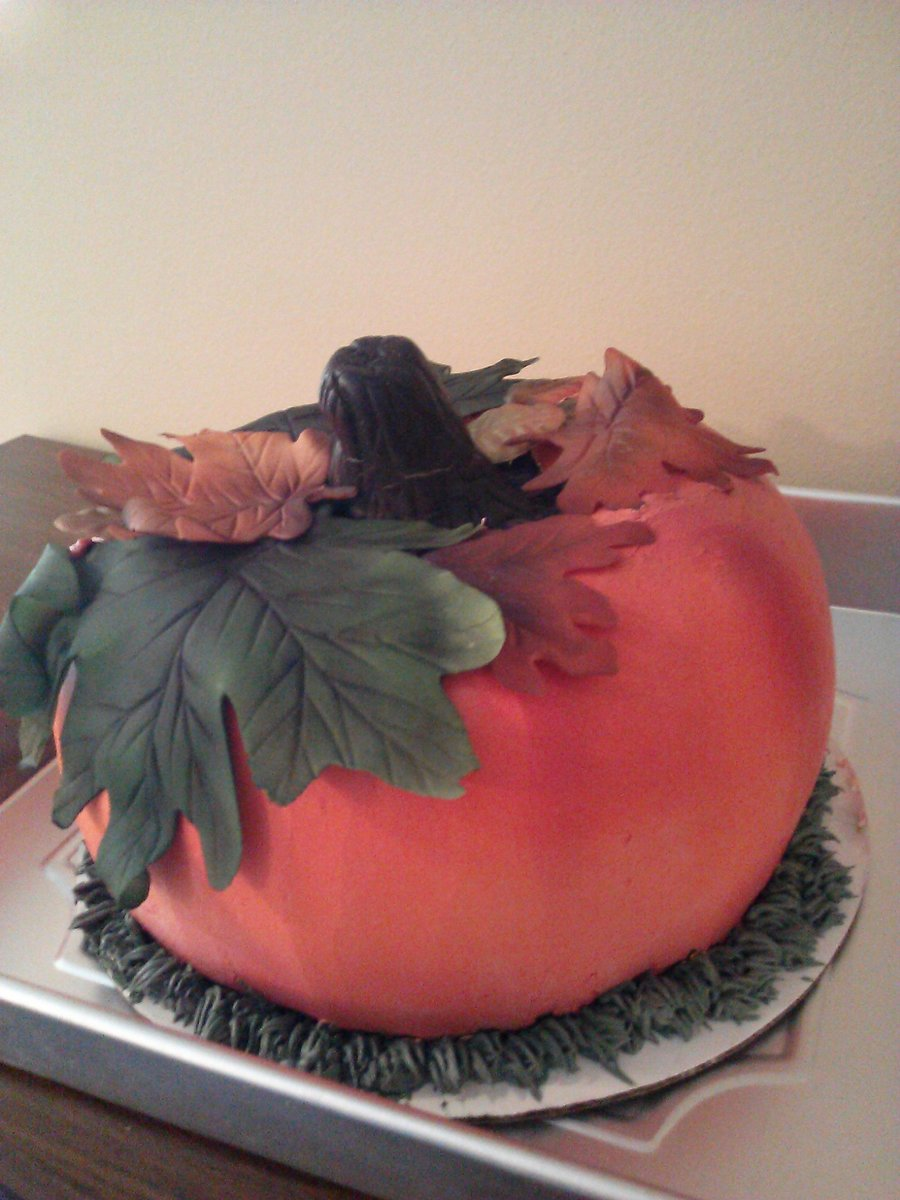 Experiment Pumpkin Best Hubby Ever Bought Me An Airbrush As A Gift This Was My First Attemp Swiss Meringue Bc With Fondant Leaves on Cake Central