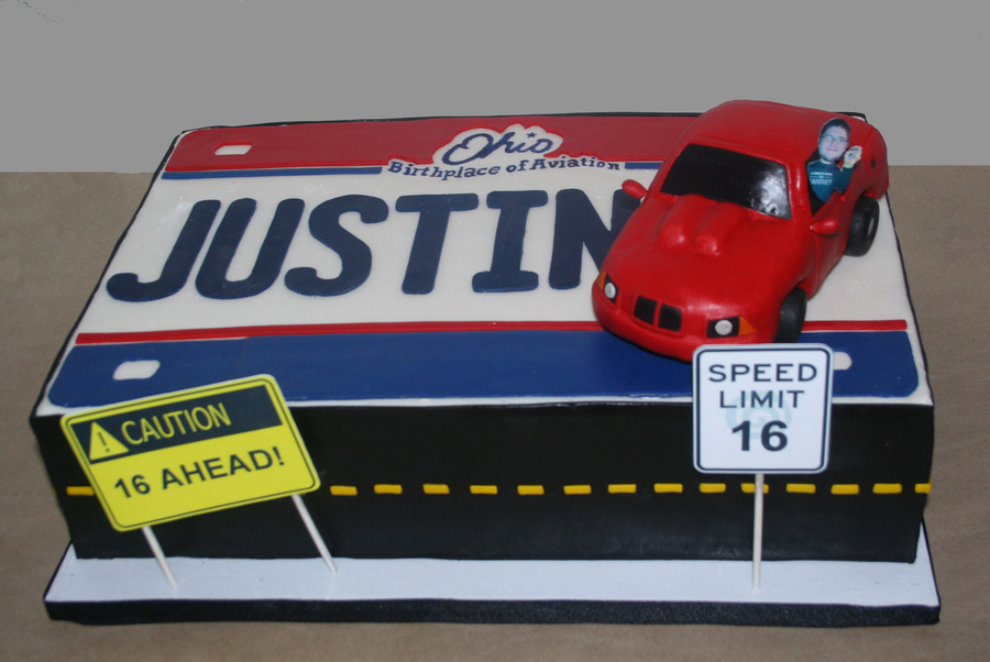 16th Birthday Cake Car And Driving Themed Car Made From Rkts Photo