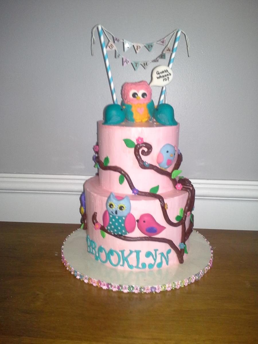Owl Birthday Cake Vanilla Cake Strawberry Smbc Figures