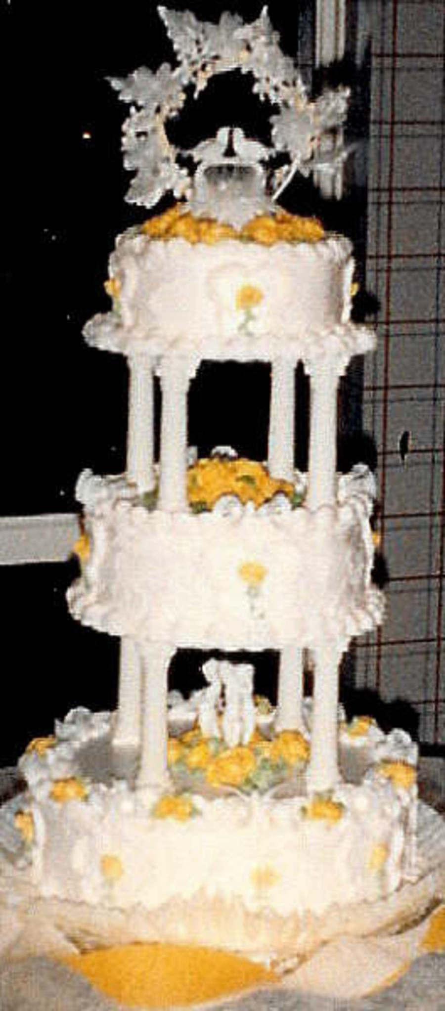 3 Tier Pillar Stacked Chocolate Cake With Handmade