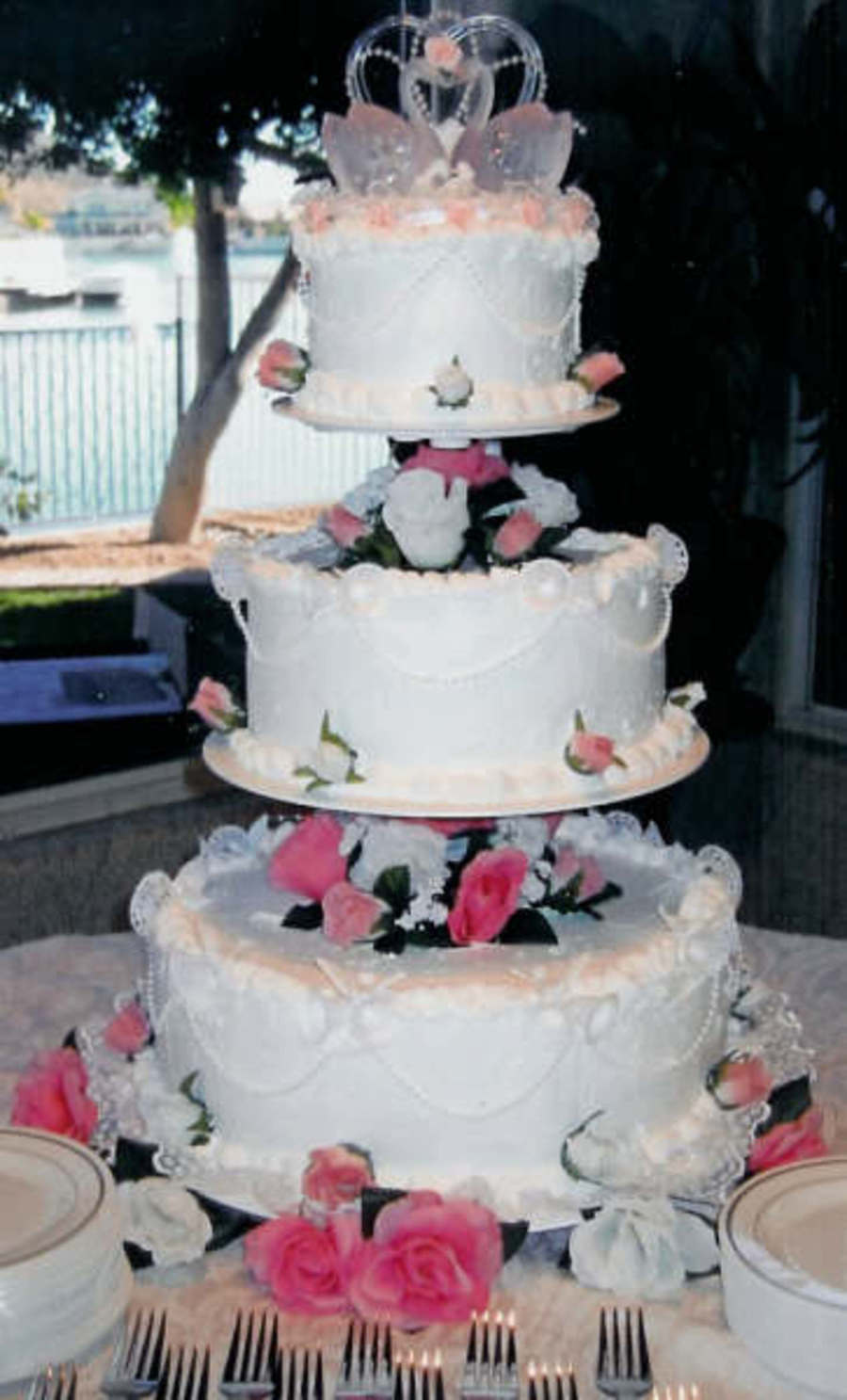 how to stack a 3 tier sponge wedding cake pink amp white 3 tier stacked cakecentral 16147