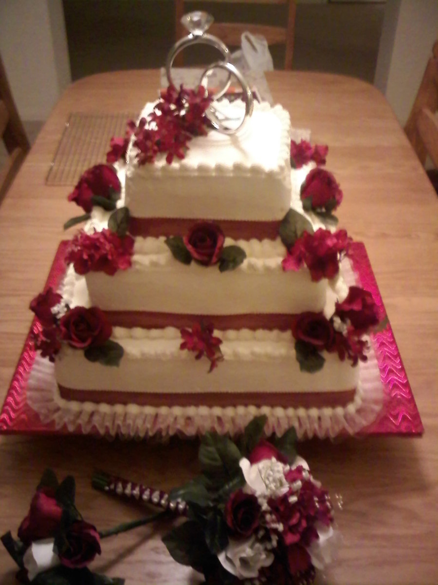 3 Tier Square Stacked, White Cake, Bavarian Cream Filling, Non-Dairy Whipped Frosting Burgandy