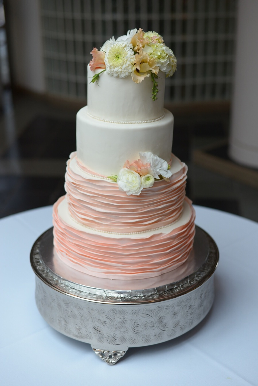 Ombré Peach Smooth Ruffle Four Tier Wedding Cake With Sugar And ...