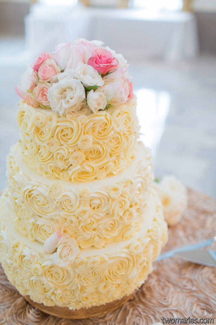 Rosette Buttercream Piped Wedding Cake Cakecentral Com