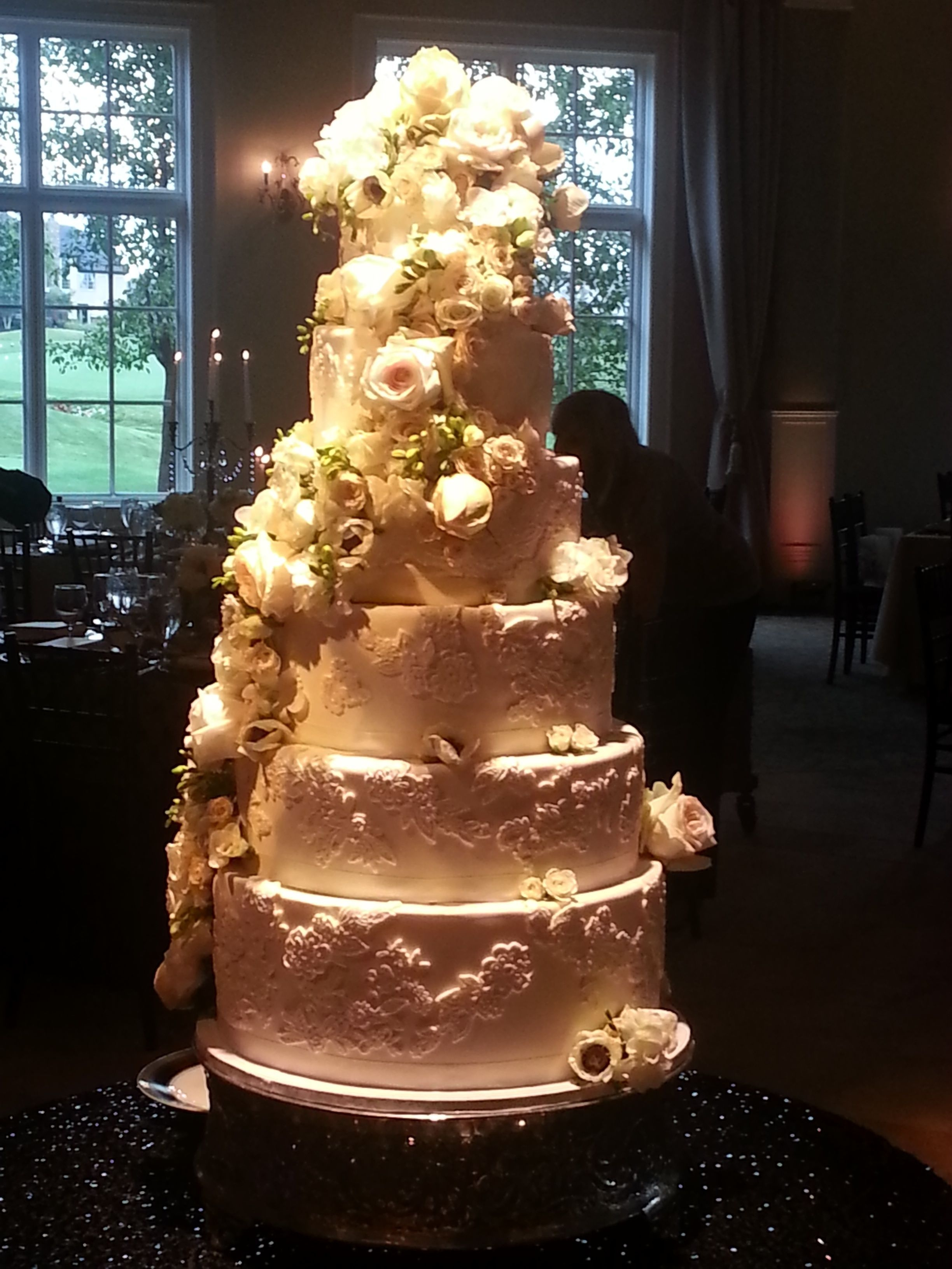 6 wedding cake 6 tier molded fondant lace wedding cake with flowers 10501