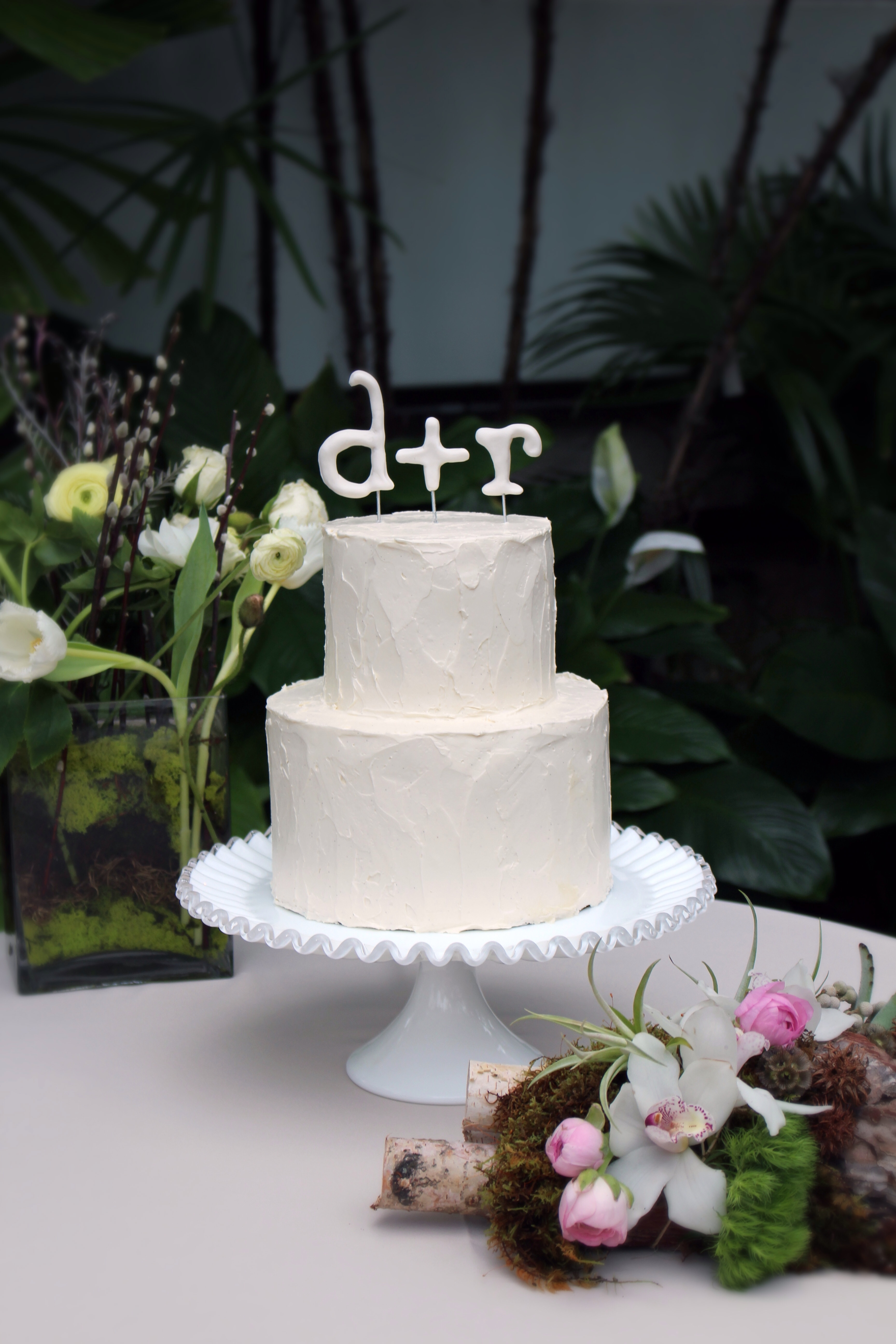 Clean And Simple Buttercream Wedding Cake With Gum Paste Toppers
