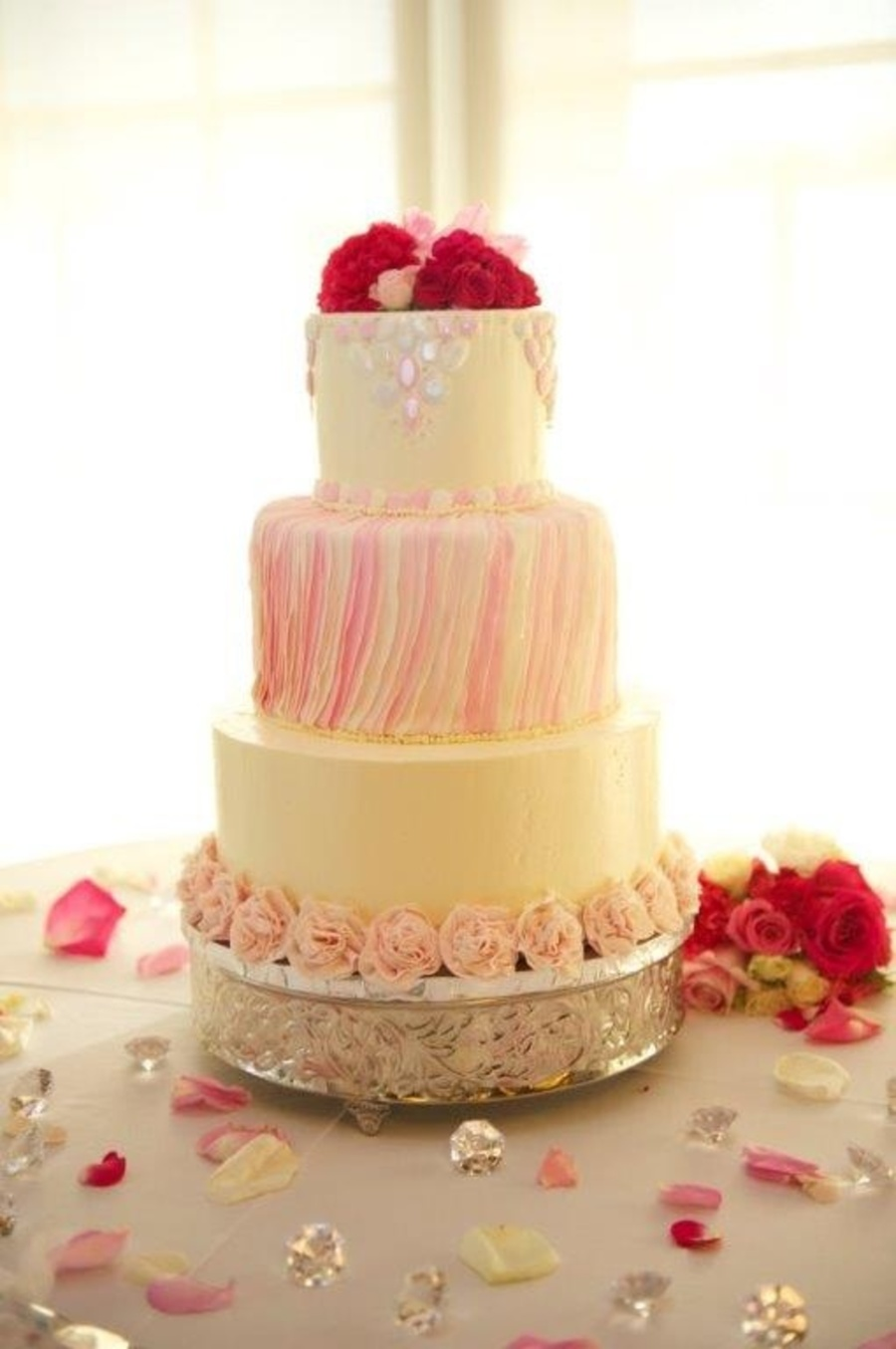 Edible Gems And Ruffles On Buttercream Round Wedding Cake In Ivory ...