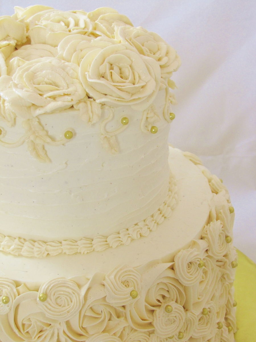 Round Piped Buttercream Wedding Cake - CakeCentral.com