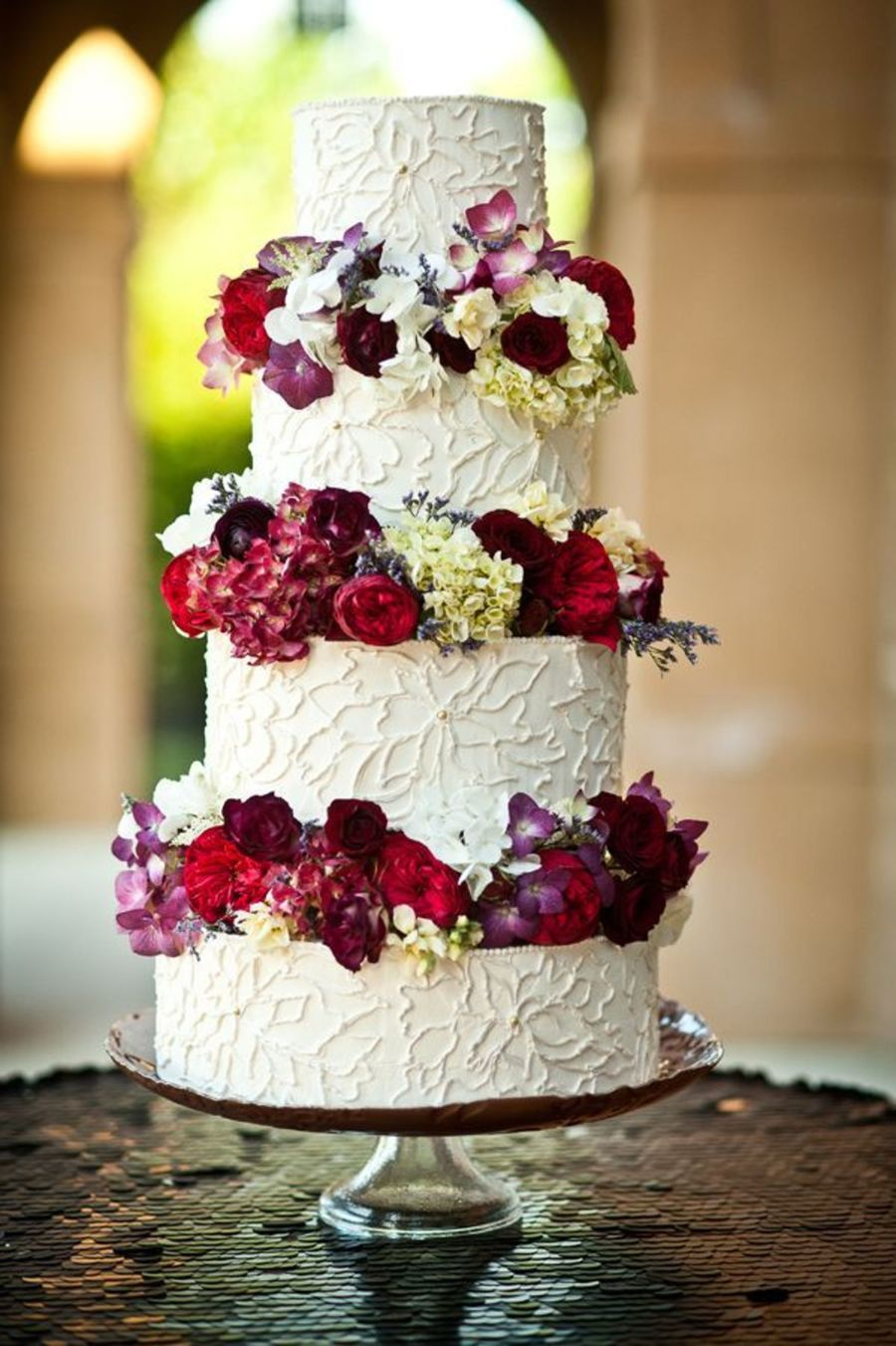 Floral Piped Buttercream Wedding Cake With Luster And